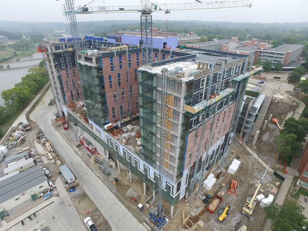 Aerial photograph of construction site taken by a Multivista Drone/UAV
