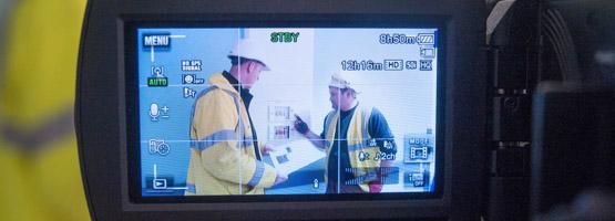 Multivista employees testing 24/7 live construction camera