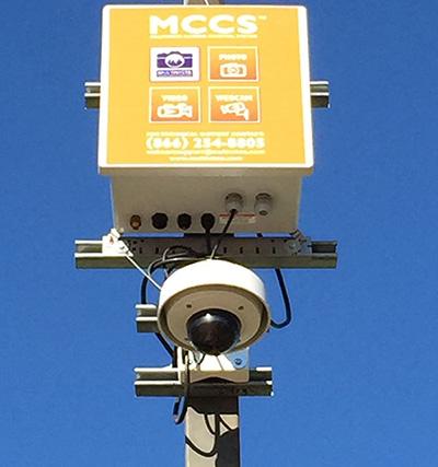 Image of Multivista's 24/7 live construction webcam after installation